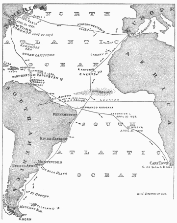 Chart of the Spray's Atlantic voyages from Boston to