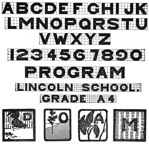Letters of Alphabet and Numbers. Lincoln School. Grade A4.
