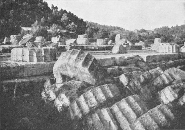 RUINS OF THE GREAT TEMPLE OF ZEUS AT OLYMPIA