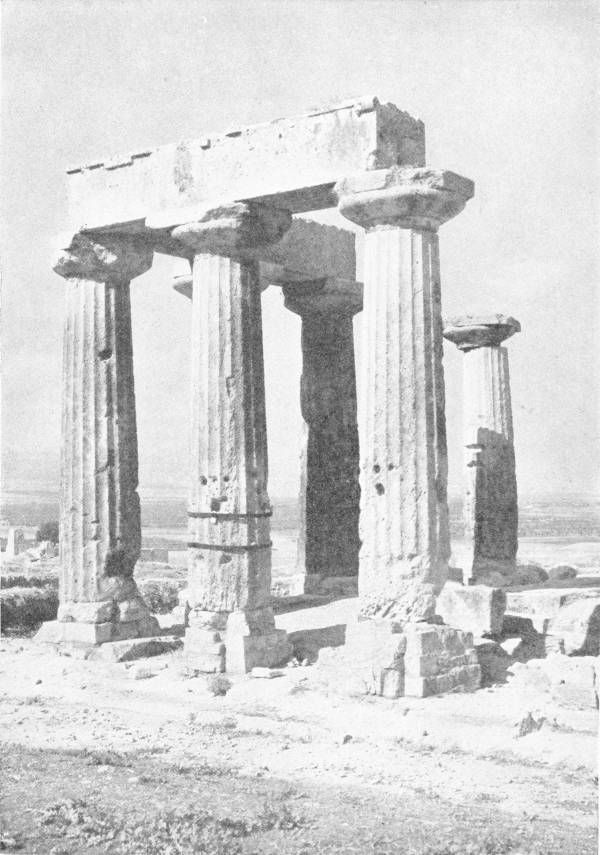 ALL THAT REMAINS OF THE GREAT TEMPLE OF CORINTH