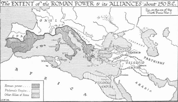 Map: The Extent of the Roman Power & its Alliances about