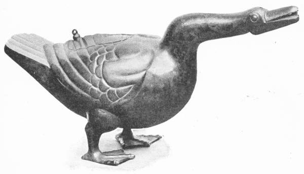 CHINESE VESSEL IN BRONZE, IN FORM OF A GOOSE