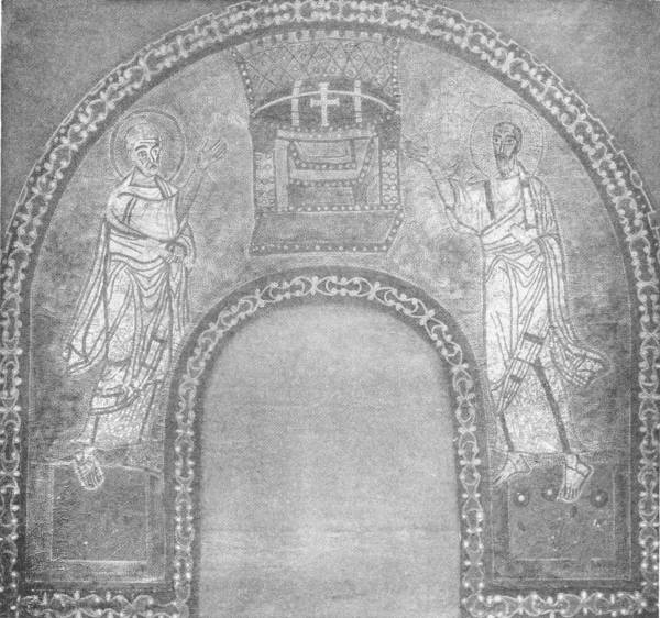 MOSAIC OF SS. PETER AND PAUL POINTING TO A THRONE, ON GOLD