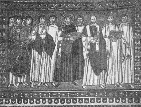 THE RAVENNA PANEL, DEPICTING JUSTINIAN AND HIS COURT