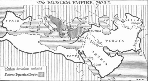 Map: The Moslem Empire, 750 <small>A.D.</small>