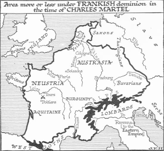 Map: Area more or less under Frankish dominion in the time of
