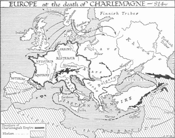 Map: Europe at the death of Charlemagne—814