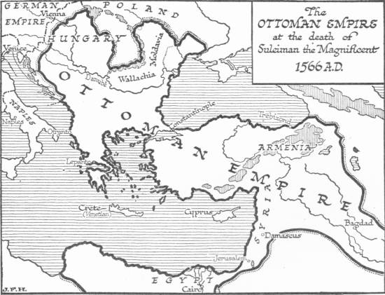 Map: The Ottoman Empire at the death of Suleiman the