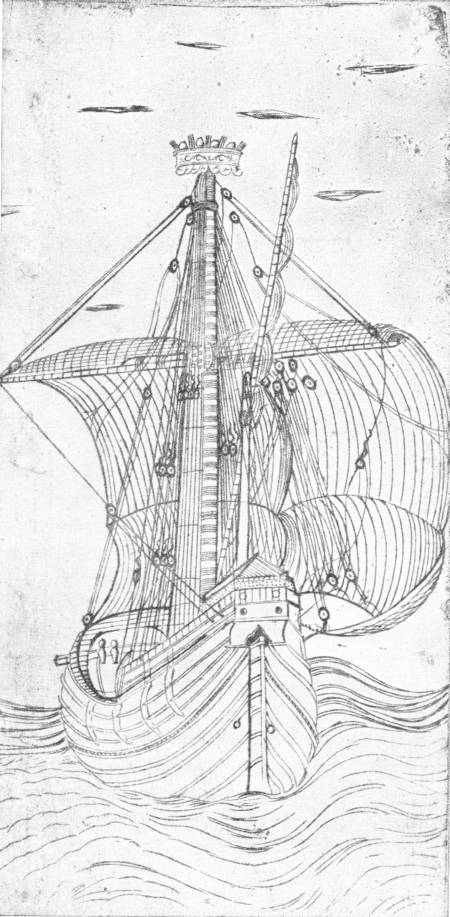 EARLY ITALIAN ENGRAVING OF A SAILING SHIP