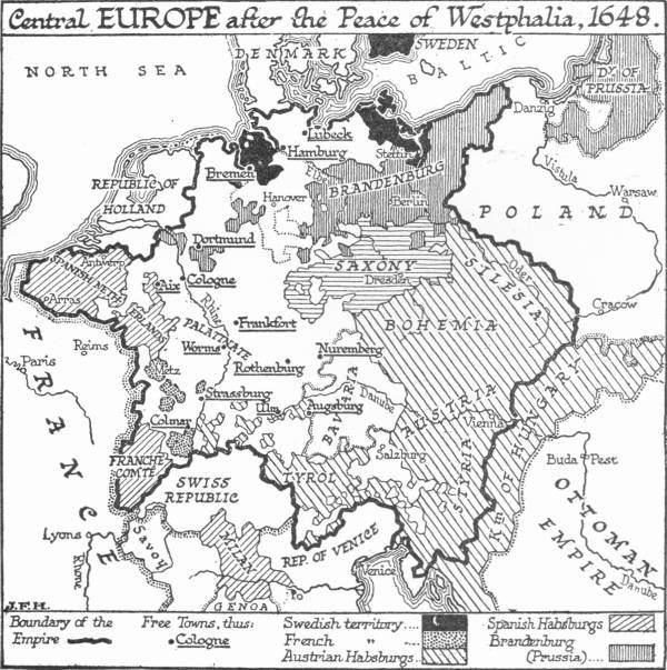 Map: Central Europe after the Peace of Westphalia, 1648