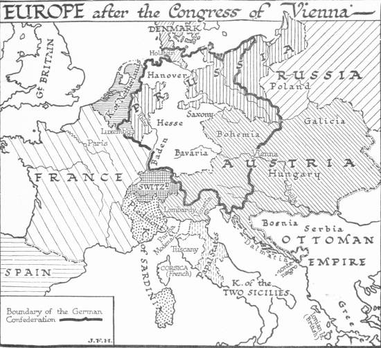 Map: Europe after the Congress of Vienna