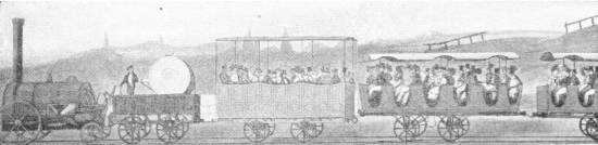 EARLY TRAVELLING ON THE LIVERPOOL AND MANCHESTER RAILWAY, 1833