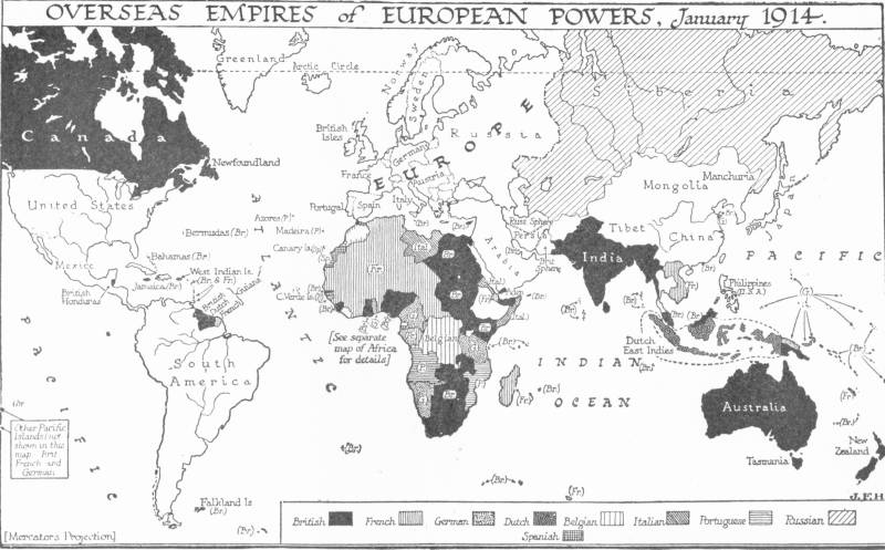 Map: OVERSEAS EMPIRES of EUROPEAN POWERS, January 1914